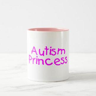 Princesa del autismo taza de café de dos colores