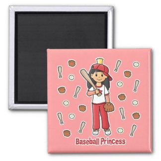 Princesa del béisbol imán cuadrado