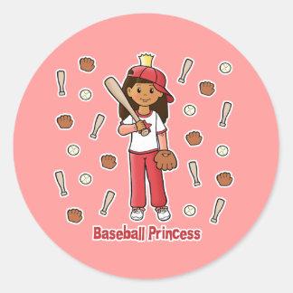 Princesa del béisbol pegatina redonda