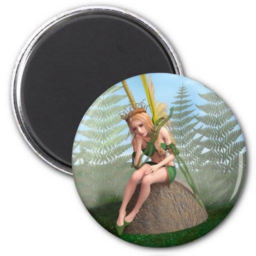 Princesa del bosque, mariposa de hadas imán redondo 5 cm