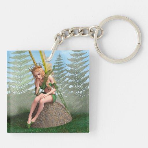 Princesa del bosque, mariposa de hadas llavero cuadrado acrílico a doble cara