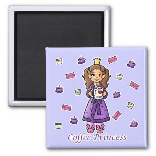 Princesa del café imán cuadrado