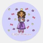 Princesa del café pegatinas redondas