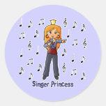 Princesa del cantante pegatina redonda