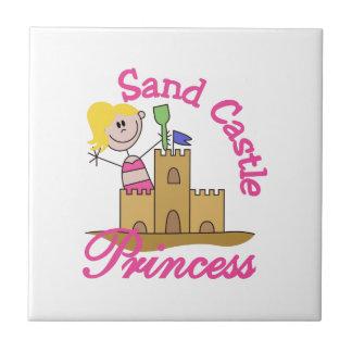 Princesa del castillo de la arena azulejo cuadrado pequeño