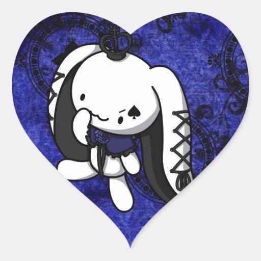 Princesa del conejo del blanco de las espadas pegatina en forma de corazón