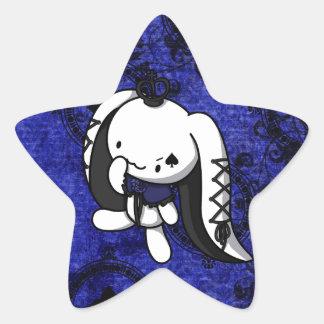 Princesa del conejo del blanco de las espadas pegatina en forma de estrella