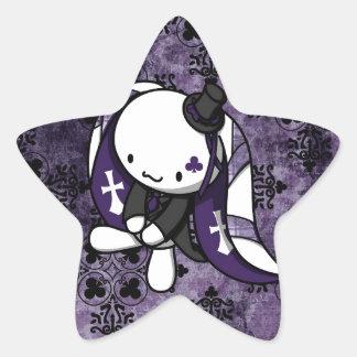 Princesa del conejo del blanco de los clubs pegatina en forma de estrella