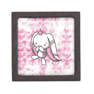 Princesa del conejo del blanco de los corazones cajas de regalo de calidad