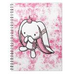 Princesa del conejo del blanco de los corazones libros de apuntes con espiral