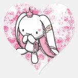 Princesa del conejo del blanco de los corazones calcomanía de corazón