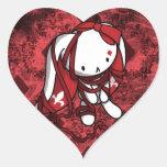 Princesa del conejo del blanco de los diamantes pegatina corazon