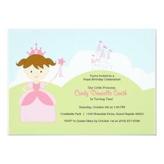 Princesa del cumpleaños del pelo de Brown en rosa Comunicado Personal