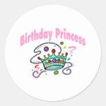 Princesa del cumpleaños etiquetas redondas