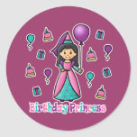 Princesa del cumpleaños pegatina redonda