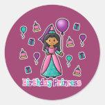 Princesa del cumpleaños pegatinas redondas