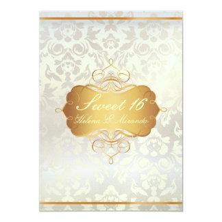 Princesa del dulce 16//damasco de la perla invitación 12,7 x 17,8 cm