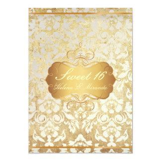 Princesa del dulce 16/del vintage/damasco de la invitación 12,7 x 17,8 cm