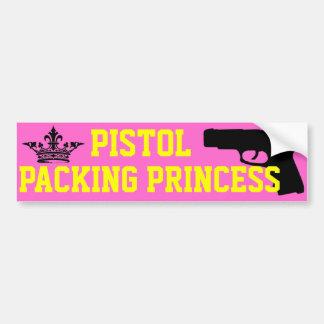 Princesa del embalaje de la pistola etiqueta de parachoque