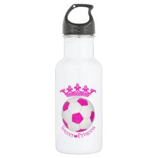 Princesa del fútbol, balón de fútbol rosado botella de agua de acero inoxidable