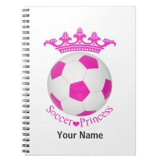 Princesa del fútbol, balón de fútbol rosado libro de apuntes