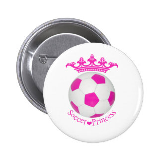 Princesa del fútbol, balón de fútbol rosado pin redondo de 2 pulgadas