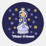 Princesa del invierno pegatina redonda