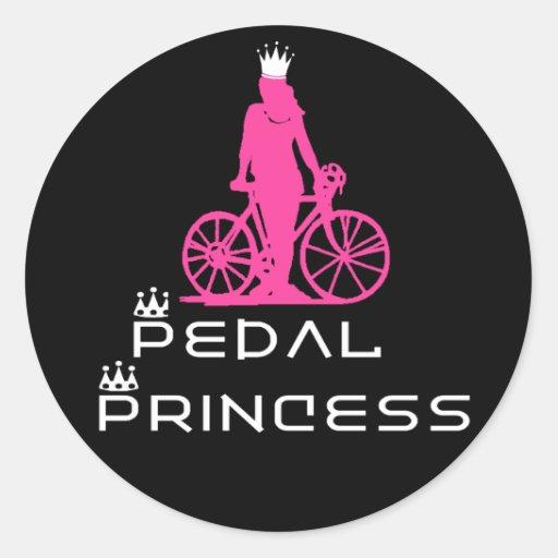 Princesa del pedal de BikeChick Etiquetas Redondas
