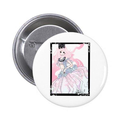 Princesa del pelo rosado pin