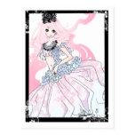 Princesa del pelo rosado postales