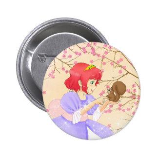 Princesa del pelo y botón rojos de la ardilla pins