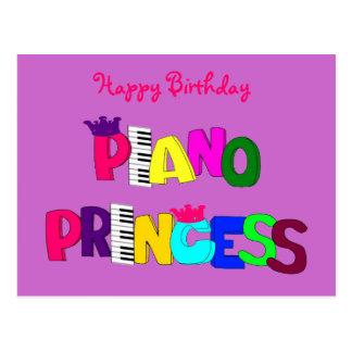 Princesa del piano del feliz cumpleaños tarjetas postales