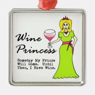 """Princesa del vino """"algún día mi príncipe Will Come Adorno Navideño Cuadrado De Metal"""