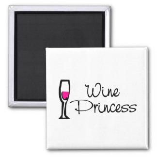 Princesa del vino imán cuadrado