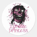 Princesa del zombi pegatina redonda