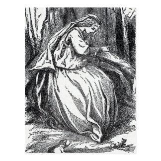 Princesa desesperada sola With Frog en bosque Tarjetas Postales