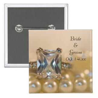 Princesa Diamond y perlas que casan el botón Pins