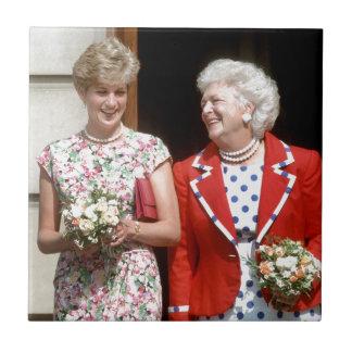 Princesa Diana-Barbara Bush Azulejo Cuadrado Pequeño
