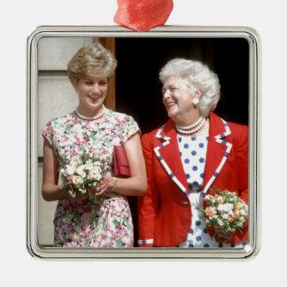 Princesa Diana-Barbara Bush Adorno Cuadrado Plateado