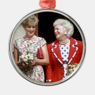 Princesa Diana-Barbara Bush Adorno Redondo Plateado