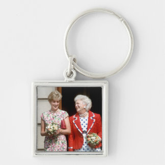 Princesa Diana-Barbara Bush Llavero Cuadrado Plateado