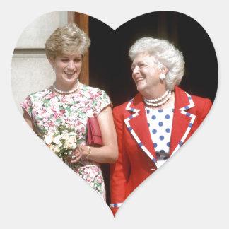 Princesa Diana-Barbara Bush Pegatina En Forma De Corazón