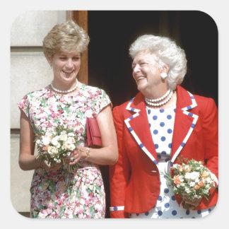 Princesa Diana-Barbara Bush Pegatina Cuadrada