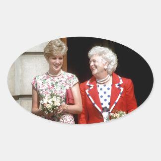 Princesa Diana-Barbara Bush Pegatina Ovalada
