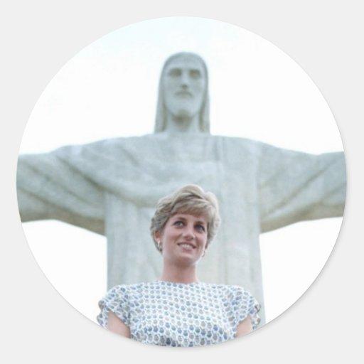 Princesa Diana Río Pegatina Redonda