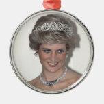 Princesa Diana Xmas Adorno Redondo Plateado