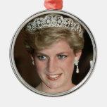 Princesa Diana Xmas de HRH Adorno Redondo Plateado