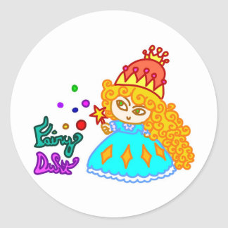 Princesa divertida linda de la magia del dibujo pegatina redonda