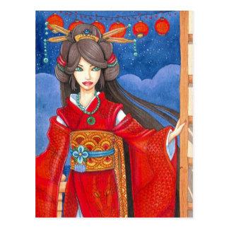 Princesa Dragon Art Print Postcard Postales
