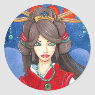 Princesa Dragon Sticker, pequeño Pegatina Redonda
